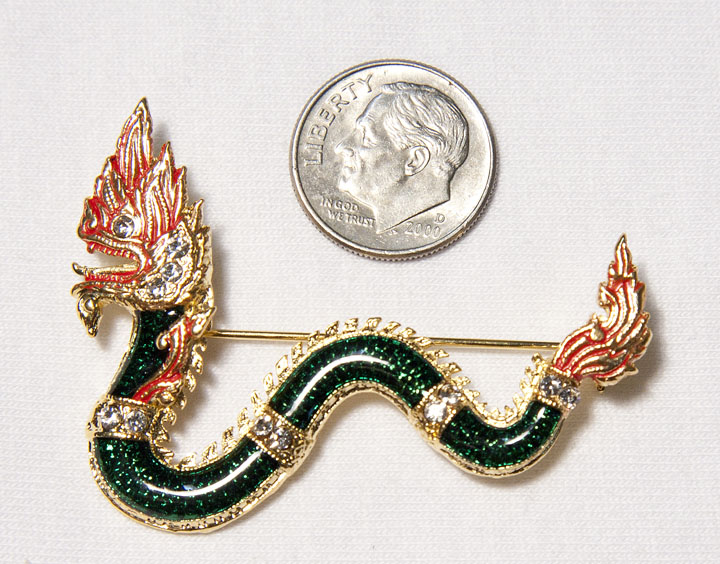 Green Wavy Naga with dime